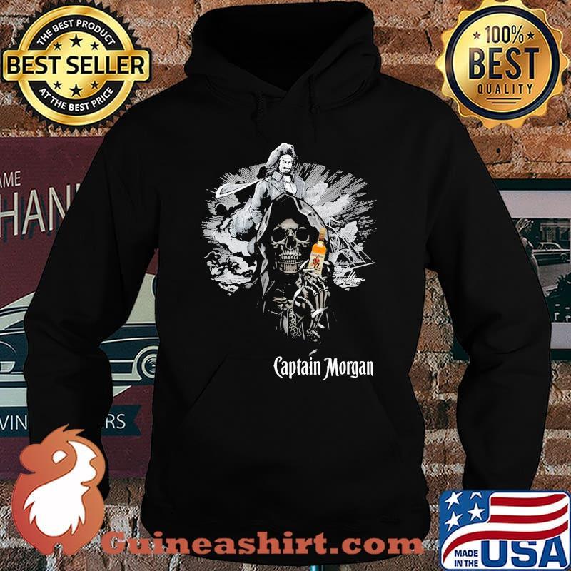 Skull Holding Captain Morgan Logo Shirt Hoodie