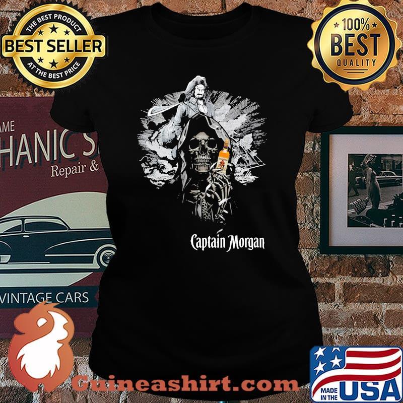 Skull Holding Captain Morgan Logo Shirt Laides tee