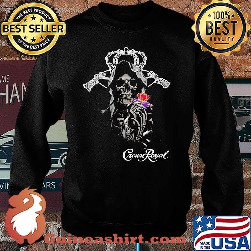 Skull Holding Crown Royal Logo Shirt Sweater
