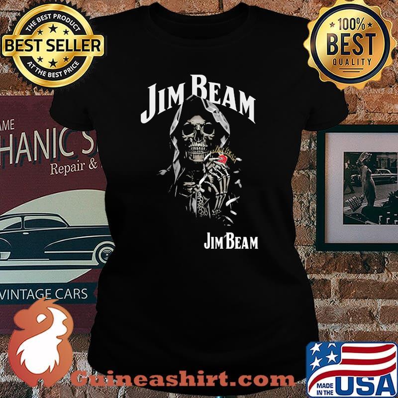 Skull Holding Jim Beam Logo Shirt Laides tee