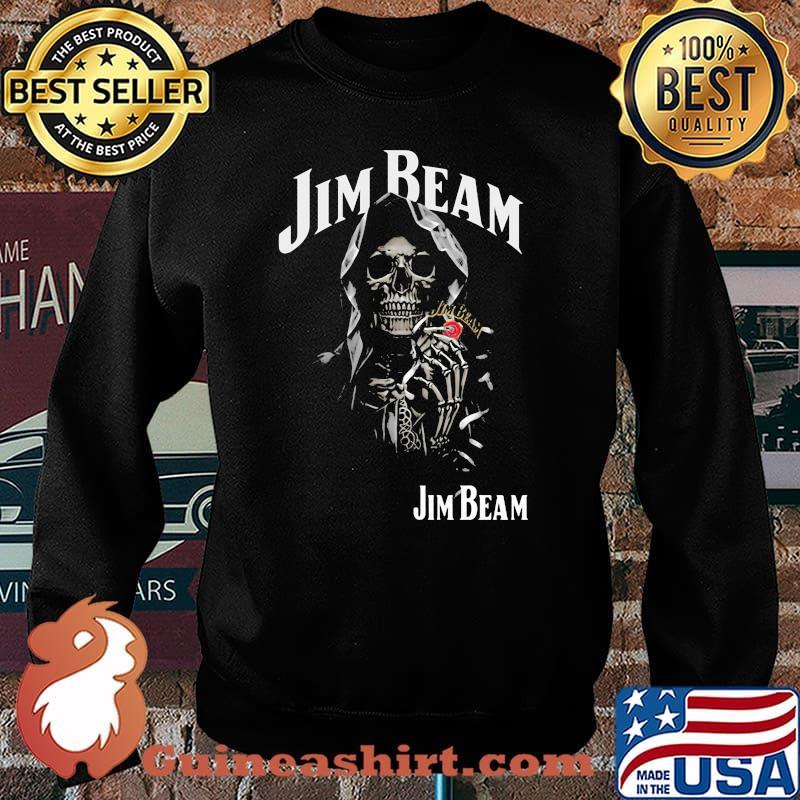 Skull Holding Jim Beam Logo Shirt Sweater