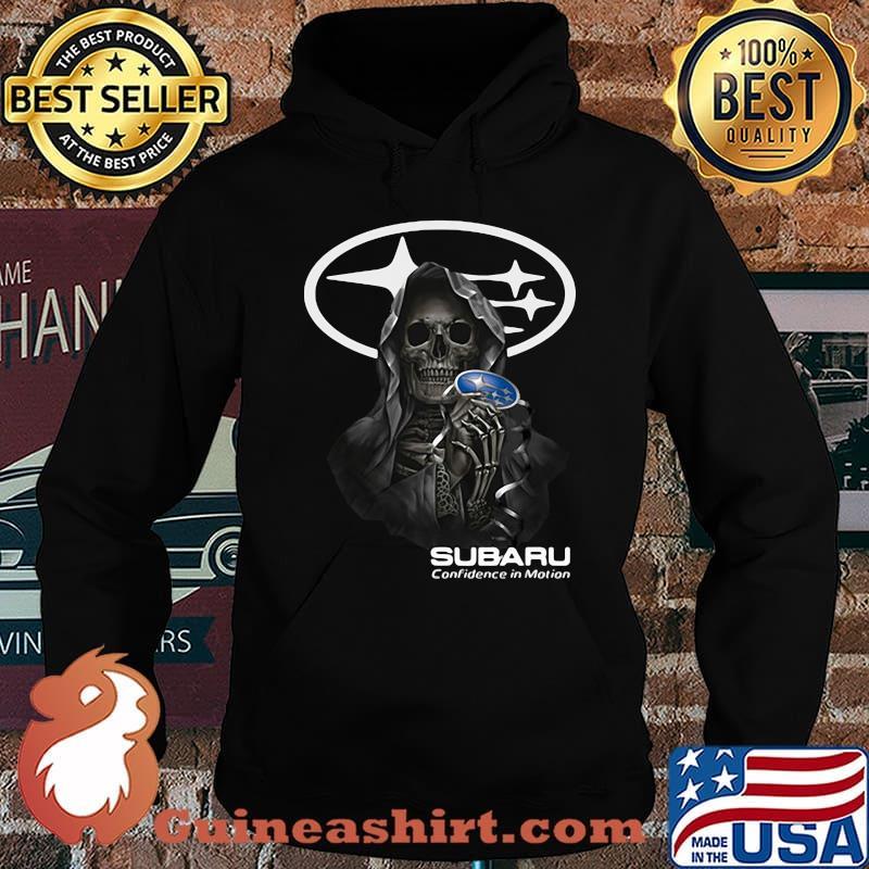 Skull Holding Subaru Confidence In Motion Logo Shirt Hoodie