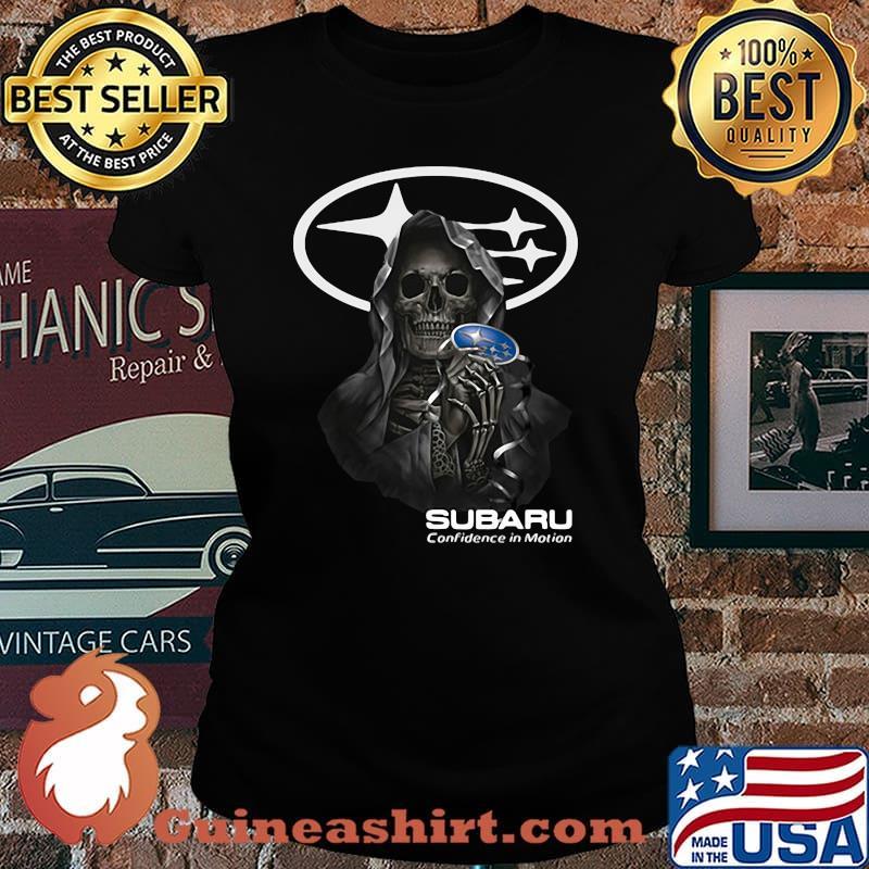 Skull Holding Subaru Confidence In Motion Logo Shirt Laides tee