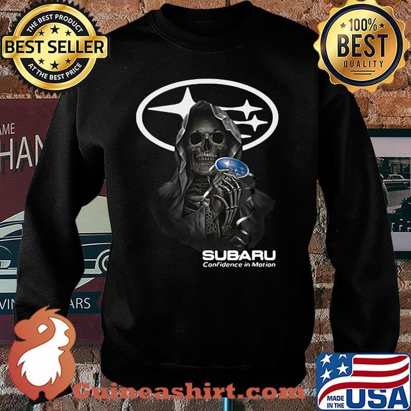 Skull Holding Subaru Confidence In Motion Logo Shirt Sweater