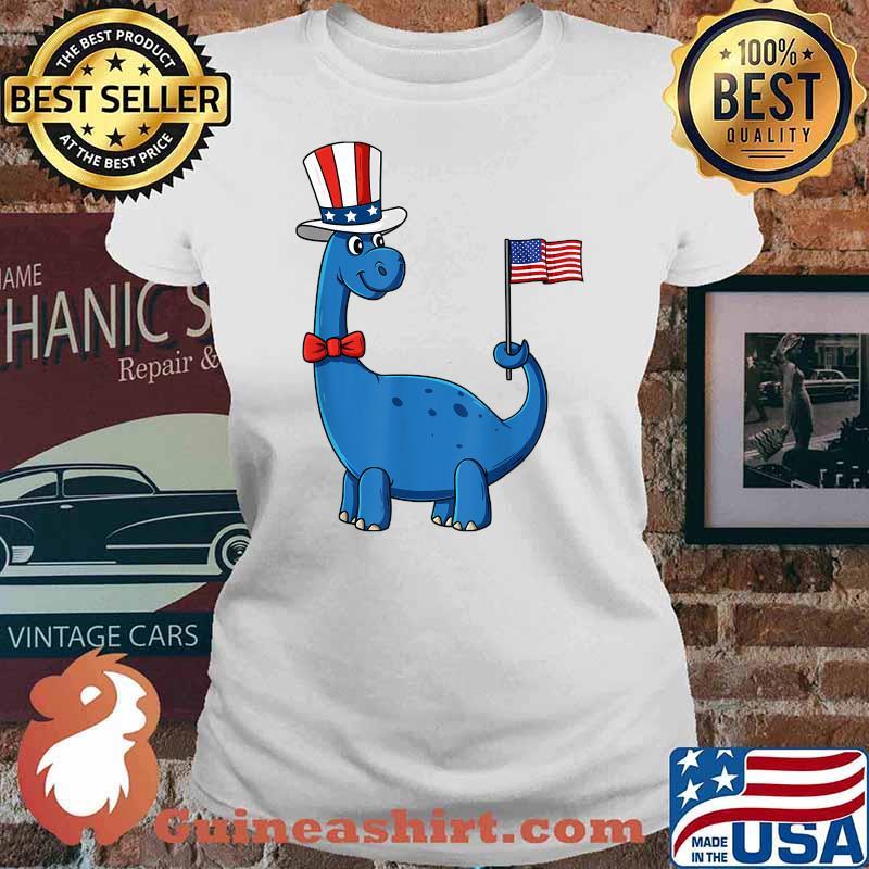T Rex American Flag 4th Of July Funny Dinosaur Uncel Sam American Flag Shirt Ladies tee