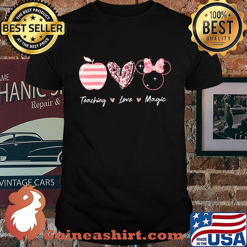Teaching Love Magic Apple Heart Leopard Disney Shirt