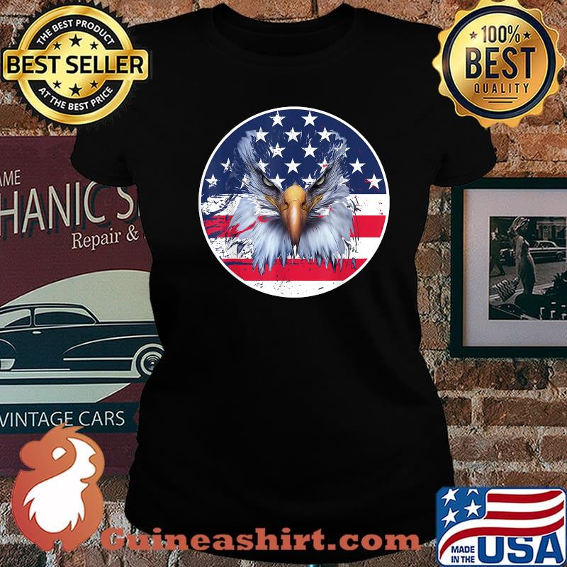 American Flag Patriotic Eagle 4th of July Shirt Laides tee