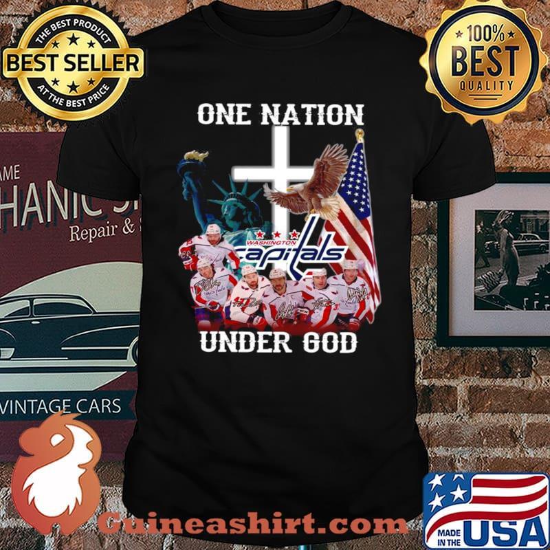 One nation under god Washington Capitals signatures shirt