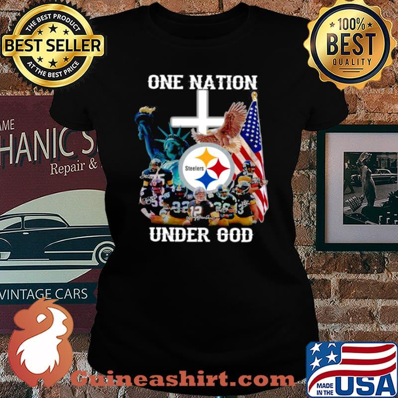 Pittsburgh Steelers one nation under god signatures Laides tee
