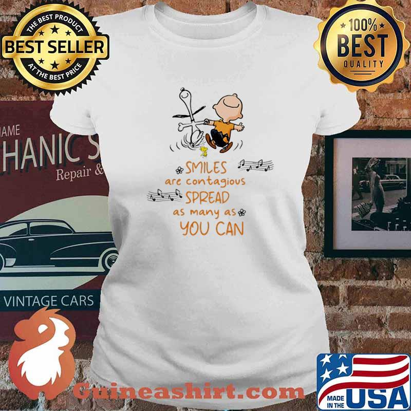 Smiles Are Contagious Spread As Many As You Can Snoopy And Charlie Shirt Ladies tee