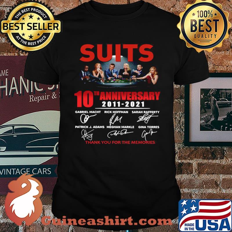 Suits 10th anniversary 2011 2021 thank you for the memories signatures shirt