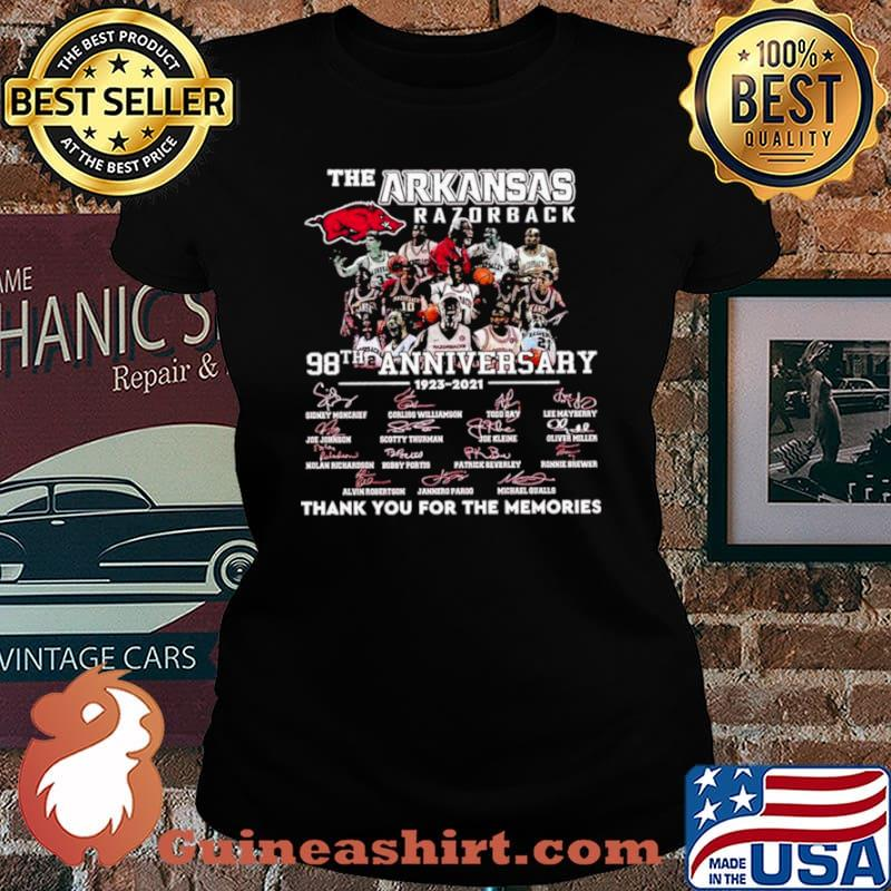 The Arkansas Razorback 98th Anniversary 1923 2021 Thank You For The Memories Signature Shirt Laides tee