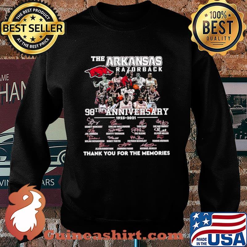 The Arkansas Razorback 98th Anniversary 1923 2021 Thank You For The Memories Signature Shirt Sweater