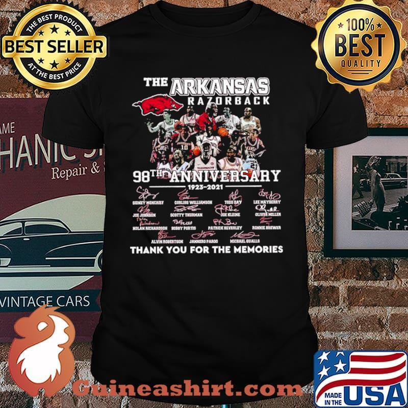 The Arkansas Razorback 98th Anniversary 1923 2021 Thank You For The Memories Signature Shirt