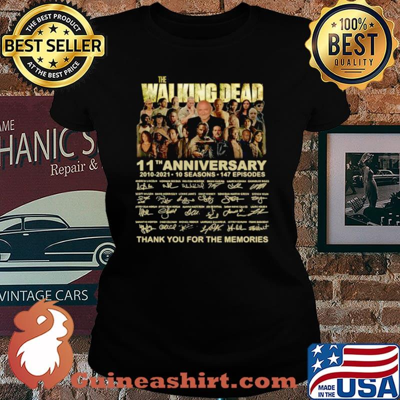The Walking Dead 11th anniversary 2010 2021 thank you signatures Laides tee