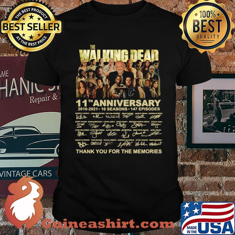 The Walking Dead 11th anniversary 2010 2021 thank you signatures shirt
