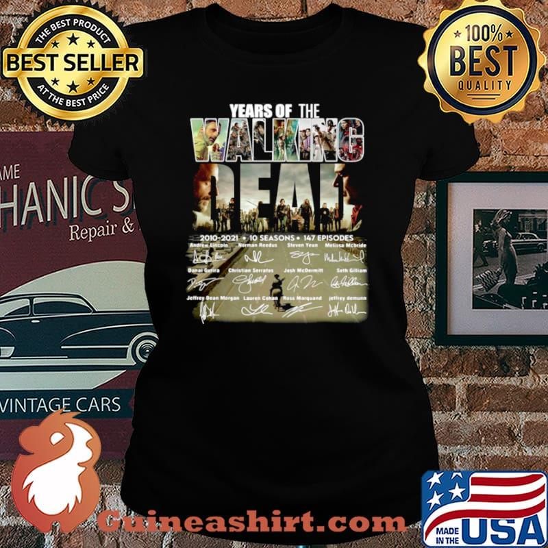 Years of the Walking Dead 2010 2021 10 seasons signatures Laides tee