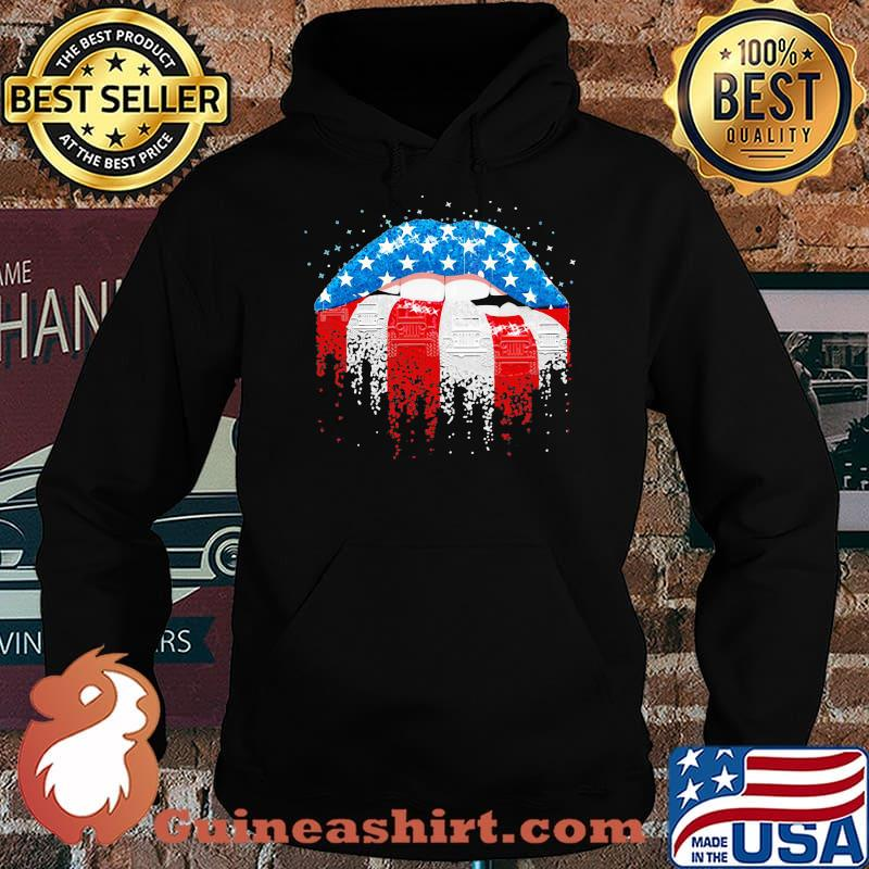 Patriotic Girl Mouth American Flag Shirt Hoodie