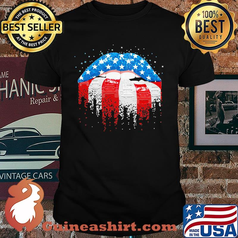 Patriotic Girl Mouth American Flag Shirt